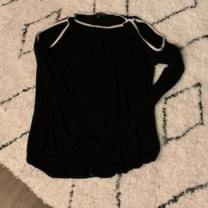 Cable and Gauge Contrast Knit Top Small Soft Black
